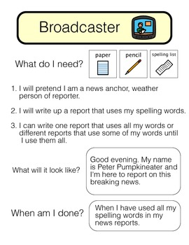 **Visually Structured** Spelling Activity - Broadcaster