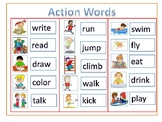 Visuals - Action Verbs - chart for writing