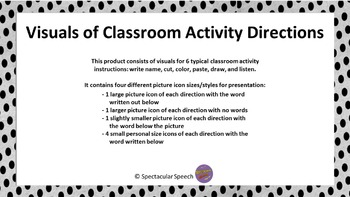 Visuals of 6 Classroom Activity Directions
