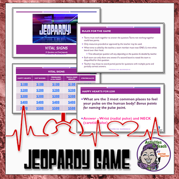Vital Signs Unit: Reader, CW Puzzle, Scavenger Hunt & Jeopardy Game