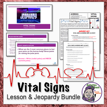 Middle School Life Science Vital Signs Activity Bundle Including Jeopardy Game
