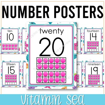 Vitamin Sea Numbers Posters with Ten Frames