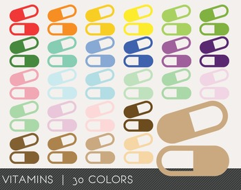 Vitamins Digital Clipart, Vitamins Graphics, Vitamins PNG, Rainbow Vitamins