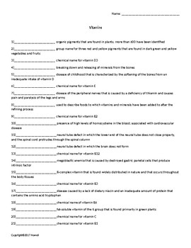 Vitamins Quiz or Worksheet for Nutrition and Health Students