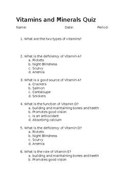 Vitamins and Mineral Quiz
