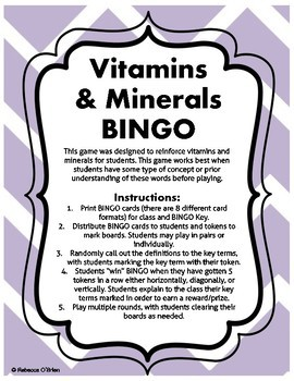 Vitamins and Minerals BINGO
