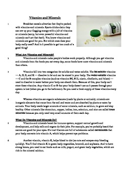 Vitamins and Minerals - Informational Text Test Prep