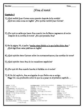 Viva el toro - Chapter 5 Comprehension Questions w/Vocabulary
