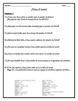 Viva el toro - Chapter 7 Comprehension Questions w/Vocabulary