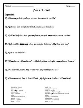 Viva el toro - Chapter 8 Comprehension Questions w/Vocabulary
