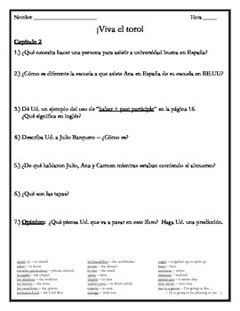 Viva el toro - Comprehension Questions for ALL Chapters 1-8 w/Vocabulary