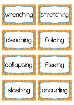 Vivacious Verbs Word Wall Flash Cards