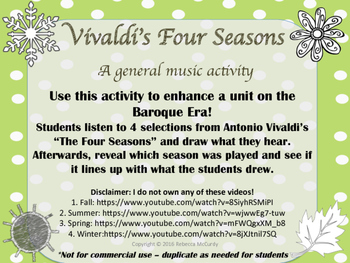 Vivaldi's Four Seasons Listening / Drawing Activity for General Music Class