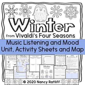 Vivaldi's Winter Music Listening and Mood Activity Sheets and Map Worksheets