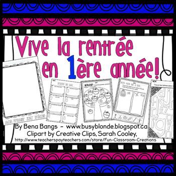 {Vive la rentrée en 1ere année!} Back to school activities for grade 1 EFI