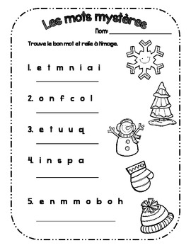 {Vive l'hiver!} 7 activités de langage pour pratiquer les mots d'hiver