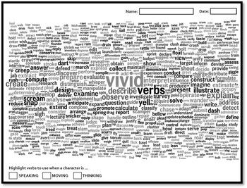 Vivid Active Verbs wordbank poster worksheet story narrative writing vocabulary
