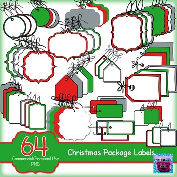Package Labels Clipart  - Christmas theme