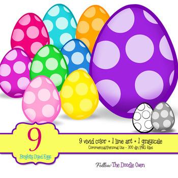 Polka Dot Easter Egg Clipart with line art