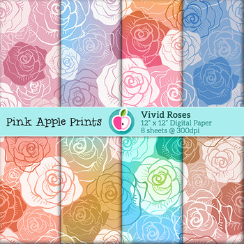Vivid Roses Style Digital Paper Set- Graphics for Teachers