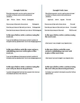 Vivid Verbs Booklet