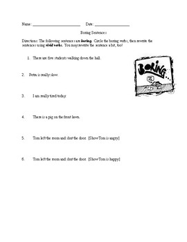 Vivid Verbs Worksheet and Writing Activity
