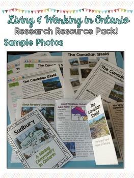 Vivre et Travailler en Ontario FRENCH Research Resources- Grade 3 Social Studies