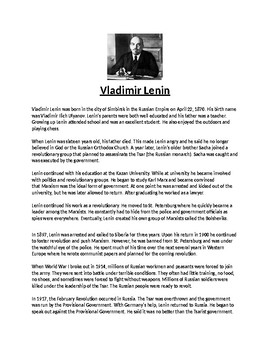 Vladimir Lenin Biography Article and Assignment Worksheet
