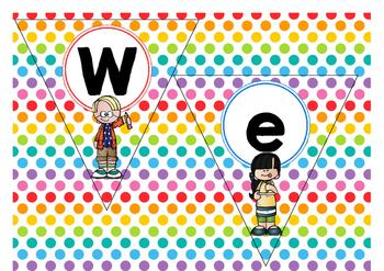 "Vlaggetjes  ""Welkom""  -  Polka  dots  multi"