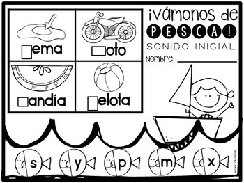 Vámonos de Pesca Sonido Inicial {Beginning Sounds Activities in Spanish}
