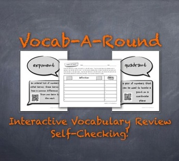 Vocab-A-Round 2: Unique, Kinesthetic Way to Review Math Vocabulary QR-Codes Too!