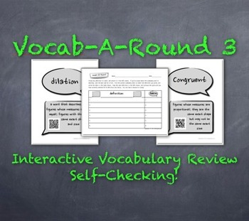 Vocab-A-Round 3: Unique, Kinesthetic Way to Review Math Vocabulary-QR-Codes Too!