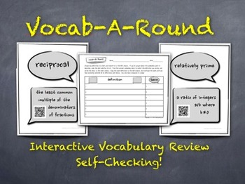 Vocab-A-Round: Unique, Kinesthetic Way to Review Math Vocabulary - QR-Codes Too!