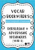 Vocab Bookmarks - Persuasive and Advertising Techniques (Year 4)