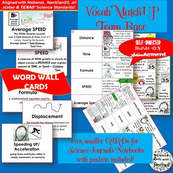 Calculating Speed Vocab Match-Up Cards