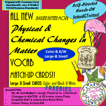 Chemical & Physical Changes in Matter Vocab Match-Up Cards