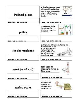 Inclined Planes & Pulleys Vocab Match-Up Cards