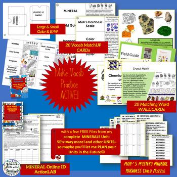 Rocks & Minerals Vocab Match Up Cards