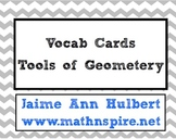 Vocab Cards {Tools of Geometry} - Ch 1 Geometry