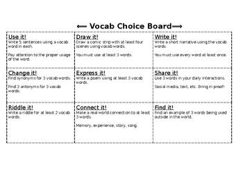 Vocab Choice Board