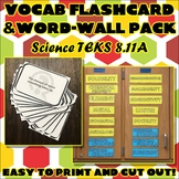 Vocab Flashcard & Word Wall Pack for Eighth Grade Science TEKS Unit 8 Part 1