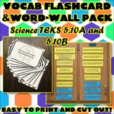 Vocab Flashcard & Word Wall Pack for Fifth Grade Science TEKS Unit 8