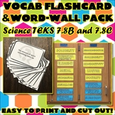 Vocab Flashcard & Word Wall Pack for Seventh Grade Science TEKS Unit 8 Part 2
