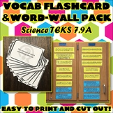 Vocab Flashcard & Word Wall Pack for Seventh Grade Science TEKS Unit 9