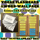 Vocab Flashcard & Word Wall Pack for Sixth Grade Science TEKS Unit 7