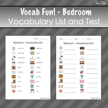 Vocab Fun! - Bedroom: Flash Cards, Vocabulary List + Test, Games and MORE!
