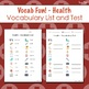 Vocab Fun! - Health: Flash Cards, Vocabulary List + Test, Games and MORE!