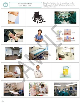 Health and Medicine: Vocabulary Game Picture and Word Cards for common terms