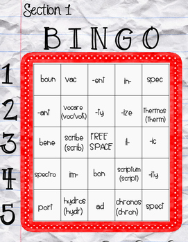 Vocab Lab: Middle School Prefixes, Roots, and Suffixes Bingo Sections Sample