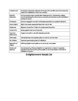 Vocab List Enlightenment